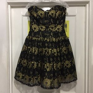 Vintage Strapless Black And Gold Dress